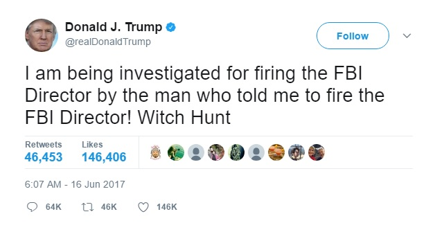 DT tweet investigated fbi fbi